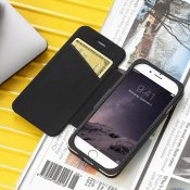 Just Mobile Quattro Folio Case Black - Leather case, high-quality iPhone 6s and 6s Plus