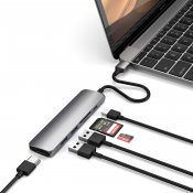 Satechi Slim USB-C MultiPort Adapter V2 with HDMI, USB 3.0 Ports and card reader