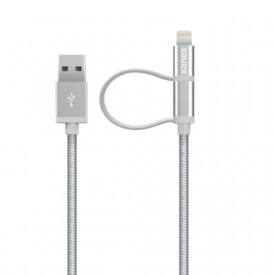 Kanex DuraBraid Lightning + Micro USB Combo 1.2M Cable, Silver