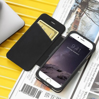 Just Mobile Quattro Folio Case Black - Läderfodral av högsta kvalitet till iPhone 6s & 6s Plus